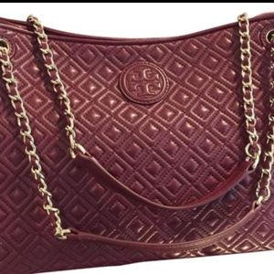 Tory Burch Marion Quilted Shoulder Tote Red Agate